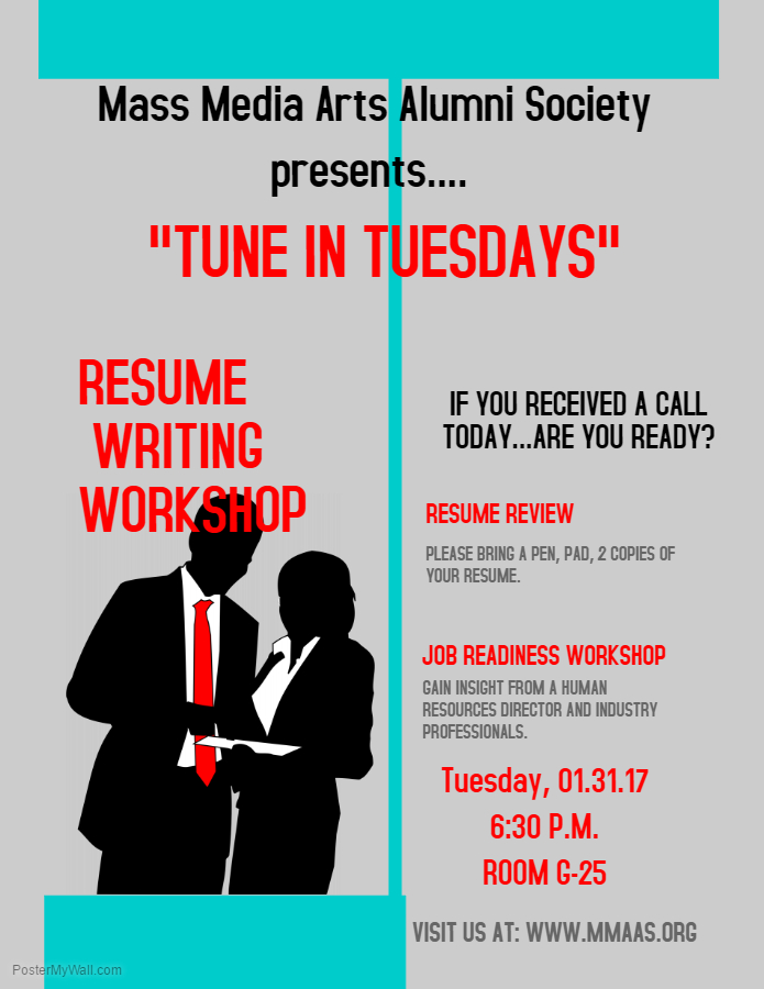 Resume Writing Workshop  January 31, 2017 @ 6:30 P.m.  Resume Writing Workshop